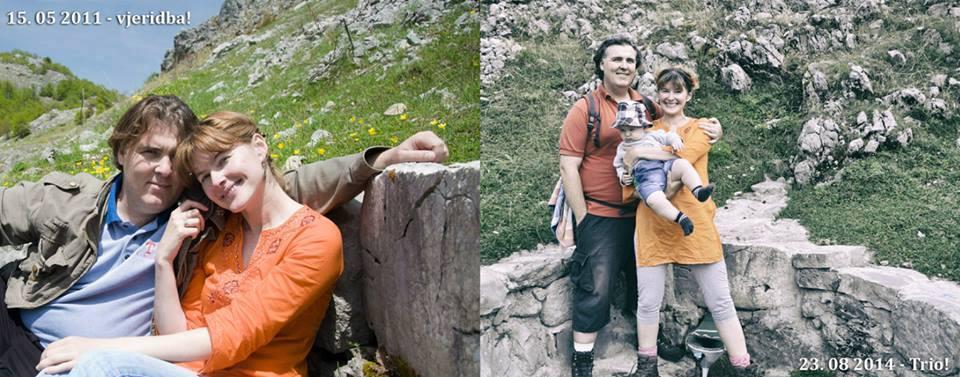 Saša i Jelena sa sinom na mjestu gdje su proslavili vjeridbu